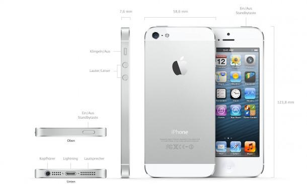 iPhone 5: Abmessungen und Gewicht